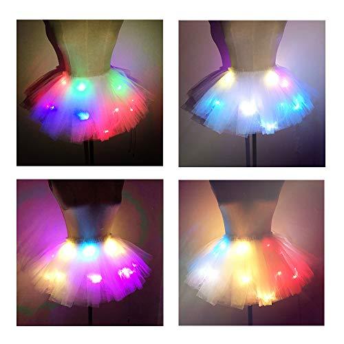 SHINYOU Women Tutu Skirt LED Light Up Ballet Skirt Halloween Cosplay EDM Festival Short White+Color (Waist:27~41in)