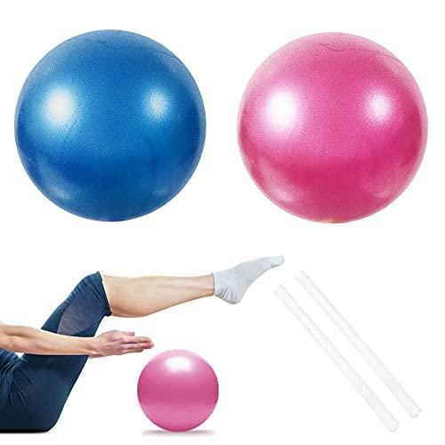2 PCS Softball Pilates, Pelota de Pilates de 25 cm, Mini Balones Yoga, Pilates Pelota Equilibrio, Pelota de Ejercicios para Gimnasio, Yoga, Masaje y Pilates en Casa, Material Fitness (Azul + Rosa)
