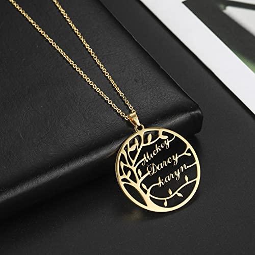 zonger Collar Personalizado con Nombre de Familia, Collares Personalizados con árbol de la Vida para Parejas, Gargantilla de Acero Inoxidable para Mujeres, joyería