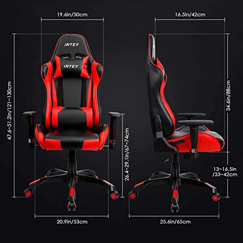 INTEY Chaise de Gaming Fauteuil de Bureau Gamer en Similicuir Dossier Inclinable à 160° Coussin pour Tête et Lombaire Accoudoir Réglable Capacité Maximale 125kg, Noir et Rouge