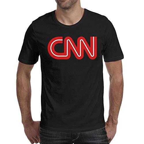 Wankens Mens Black Tshirt Cotton Short Sleeve Breathable CNN-Logo- Tshirts
