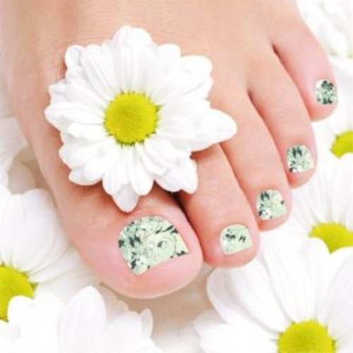 Films à ongles by Glam Stripes – Mint Green Flowers Feet