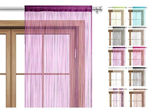 Fadenvorhang Türvorhang Fäden 90x245 cm lila violett - Stangendurchzug kürzbar waschbar Uni einfarbig in vielen bunten Farben