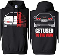 WheelSpinAddict Men's C4 Corvette Get Used to The View Hoodie Black