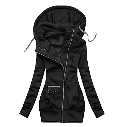 Otoño/invierno de las mujeres de color sólido costuras cremallera cordón manga larga con capucha más tamaño chaqueta