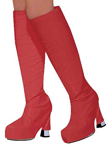 New Red Go Go Girl Boot Tops 60S 70S Fancy Dress (disfraz)