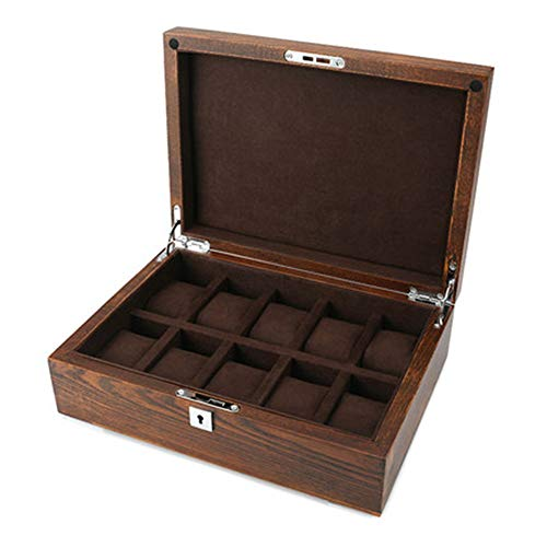 Watch Box 10 Slot Guarda Storage Box Elm Wood Window Solido Puro Legno Vetro Guarda Box Collection di Fascia Alta in Legno massello di visualizzazione Scatola di Legno