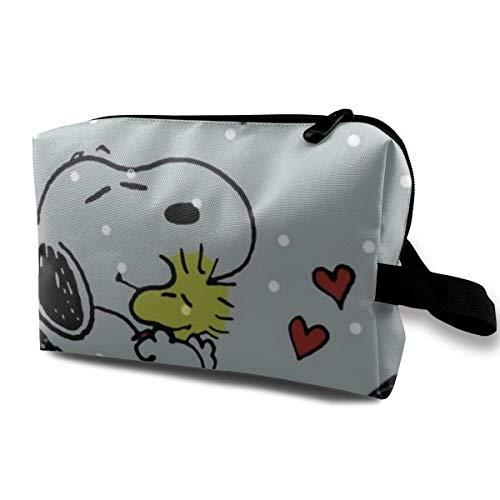 Snoopy - Neceser de viaje para maquillaje, cosméticos, bolsa de aseo portátil para mujer, organizador de almacenamiento diario