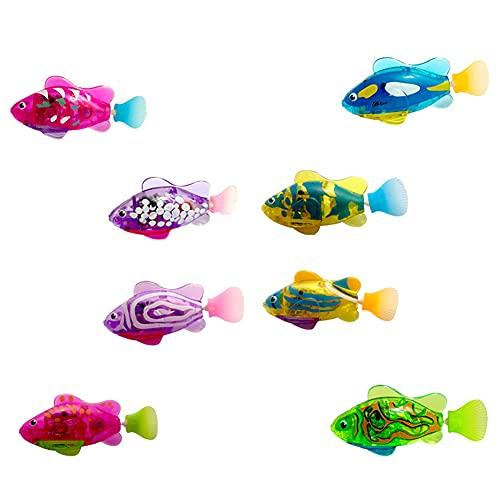 Hpory Juguetes de baño para bebés, 8 piezas de robot de pescado eléctrico de la bañera Juguetes de inducción automática de natación de peces con luz LED Robo Fish Plastic Bathtub Toys para niños