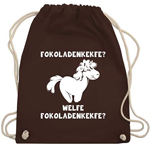 Shirtracer Sprüche Kind - Fokoladenkekfe Einhorn - Unisize - Braun - Spruch - WM110 - Turnbeutel und Stoffbeutel aus Baumwolle
