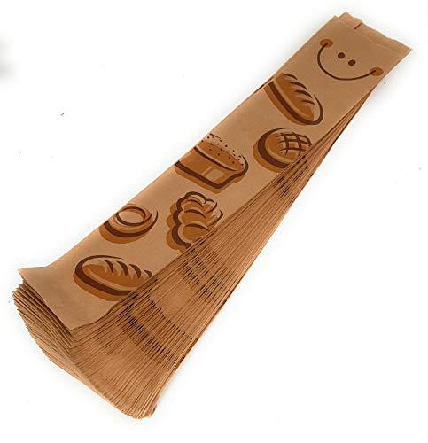 1000 Bolsas para barra de pan en papel kraft 51 x 10 cm + 5