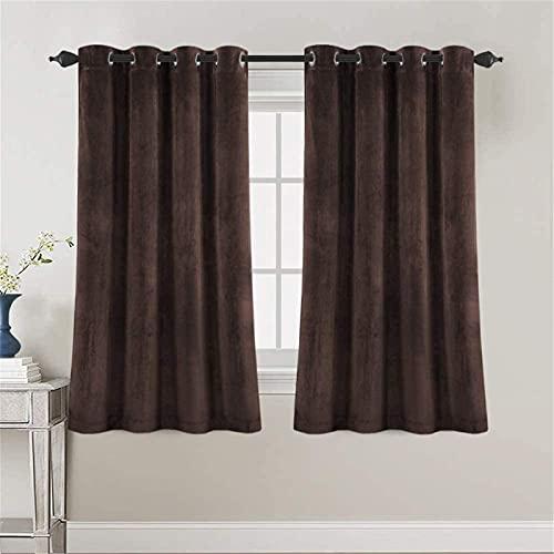 YSLLIOM Cortinas Térmicas Opacas Modernas, Aislantes de frío y Calor Ideal para habitación, Oficina y salón (2x52 Wx95 L,marrón)