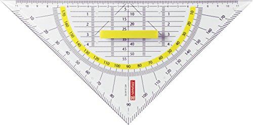 Brunnen 1049755 Geometrie-Dreieck / Geodreieck (für Schule und Büro 22 cm, mit abnehmbarem Griff, glasklar)