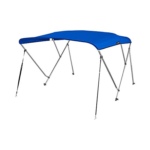 """MSC Standard 3 Bow Bimini Boat Top Cover with Rear Support Pole and Storage Boot (Pacific Blue, 3 Bow 6'L x 46"""" H x 67""""-72"""" W)"""