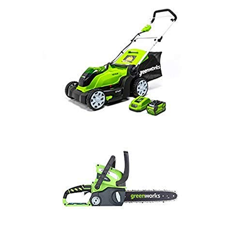 Greenworks 17-Inch 40V Cordless Lawn Mower with 12-Inch 40V Cordless Chainsaw Battery Not Included 20292