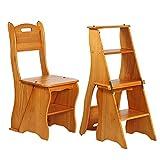 4 Stufen Leiterstuhl Tritthocker Trittleiter Haushaltsleiter Hockerleiter Aus Massivholz (Color : Honey color)