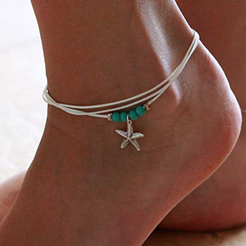 Dresbe Boho Layered Anklet Ivory Beach Turquoise Braided Anklets Beaded Ankle Bracelet Starfish Pendant Foot Jewelry Accessories for Women and Girls