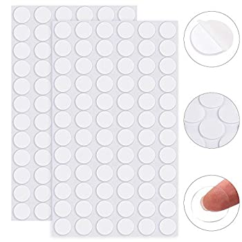 ADXCO 144 Pieces Transparent Putty Traceless Removable Sticky Putty Double-Sided Adhesive Round Putty Multipurpose Tape Nano Gel Mat for Wood Glass Ceramic Metal Plastic Diameter 20 mm