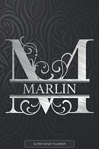 Marlin: Monogram Silver Letter M The Marlin Name - Marlin Name Custom Gift Planner Calendar Notebook Journal