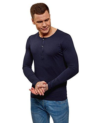 oodji Ultra Hombre Camiseta Henley de Manga Larga, Azul, ES 44 / XS