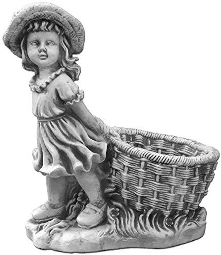 gartendekoparadies.de Massive Steinfigur Mädchen mit Blumentopf Pflanzgefäß aus Steinguss frostfest