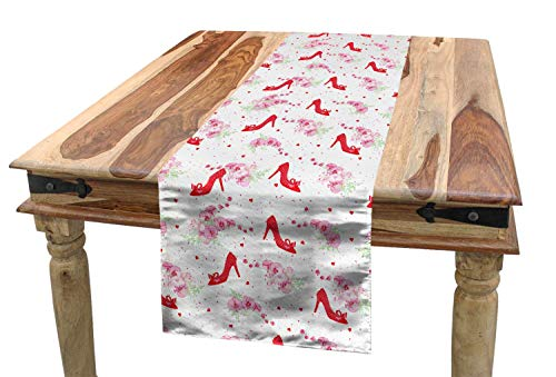 "Mejor SHANNON Throw Fashion Table Runner, Fashion Heels Precious Lady Shoes Pattern Orchid Flower Bouquet Petals Hearts Design,Dining Room Kitchen Rectangular Runner,14"" x 36"", White Red crítica 2020"