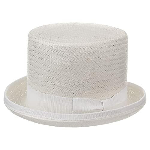 Chapeaushop Haut-de-Forme Rom en Paille Chapeaux de Paille Chapeau pour Homme (57 cm - Blanc)
