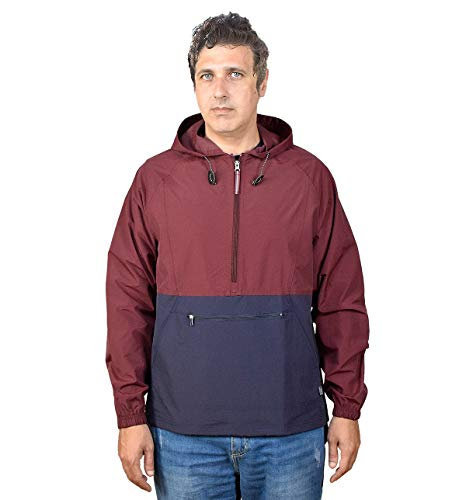 Outdoor Shaping Men's Pullover Rain Jacket Hooded Windbreaker Raincoat Waterproof Lightweight, Purple-Navy, Large