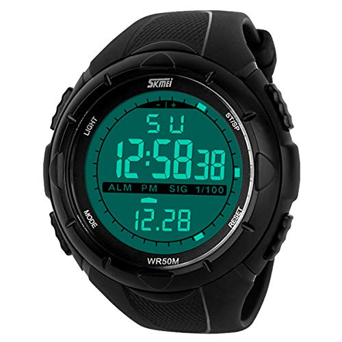 Happy Cherry Deportivo LED Reloj Digital de Cuarzo con Correa de Gaucho Esfera Grande Multifunción Alarma Cronómetro Calendario Waterproof Wrist Watch para Hombre Chico - Negro