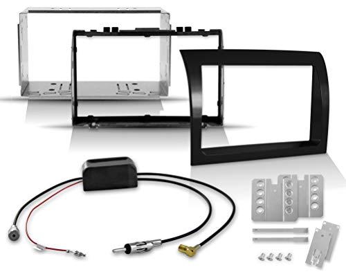 2-DIN Doppel-Din Einbauset für Ducato, Jumper, Boxer mit Hochglanz-Radioblende + aktivem Antennenverteiler zur Montage von DAB+ Autoradios und Navis - geeignet für Reisemobile Wohnmobile Transporter