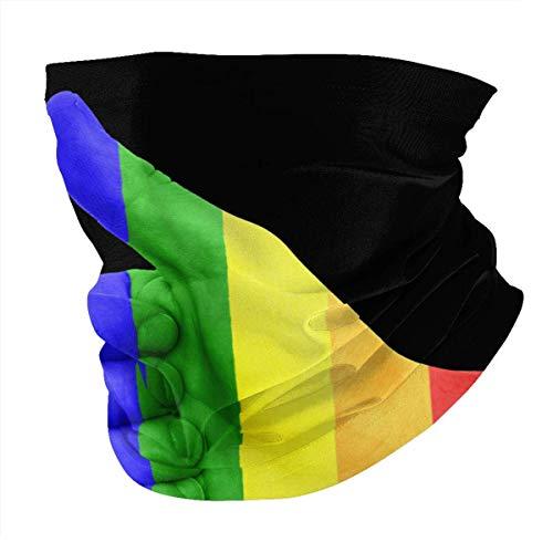 Tzshak Rainbow Thumb Queer LGBT Pride Gay Pride Windbreak Headwear Diadema Bufanda Mascarilla Lavable Polvo Cuello Bandana Máscara Pasamontañas