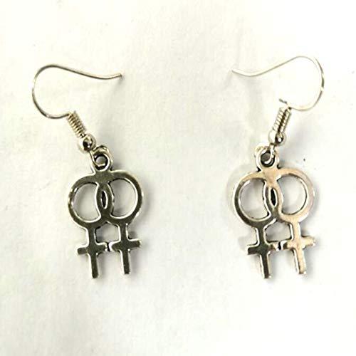 SALAN Punk Double Vénus Symbole Femelle Logo Dangle Boucles d'oreilles Crochet Gay Pride Rainbow Symbole Lesbien Boucles d'oreilles Femme Bijoux Mujer Cadeau