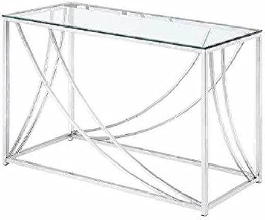 B01MQTXG7O✅Coaster 720499-CO Glass Top Console Table, Chrome