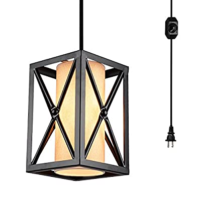 HMVPL Swag Lights with Plug in Cord and On/Off Dimmer Switch, New Transitional Hanging Pendant Lamps with Linen Lampshade for Dining Room, Bed Room