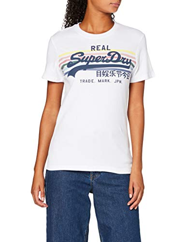 Superdry Damen Vintage Logo Rodeo Rainbow Stripe Entry T-Shirt, Weiß (Optic 01C), XXL (Herstellergröße:18)