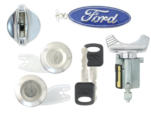 Ford 1992-95 - F150, F250 Pick Up - Ignition & Door Lock Cylinders with 2 Keys (Chrome)