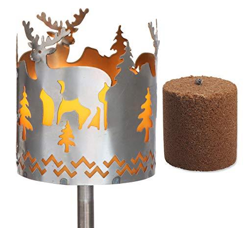 Novaliv Gartenfackel Hirsch Feuerschale Metall mit Stiel und Brennmittel