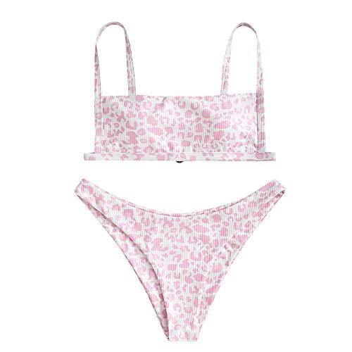 ZAFUL - Costume da bagno da donna, due pezzi, top bikini con fascia stampata, leopardato, Rosa, S