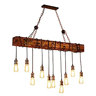 LADIQI Industrial Vintage Wooden Hanging Pendant Light Retro Loft Lantern Chandelier 4 Lights Suspension Lighting Fixture for Coffee Shop Restaurant