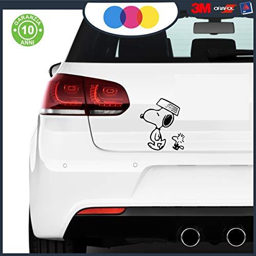 Snoopy und Woodstock Camminando Aufkleber für Auto Moto MOBILI - Peanuts Comics Cartoon Cartoon Sticker (schwarz) 17X20 Schwarz