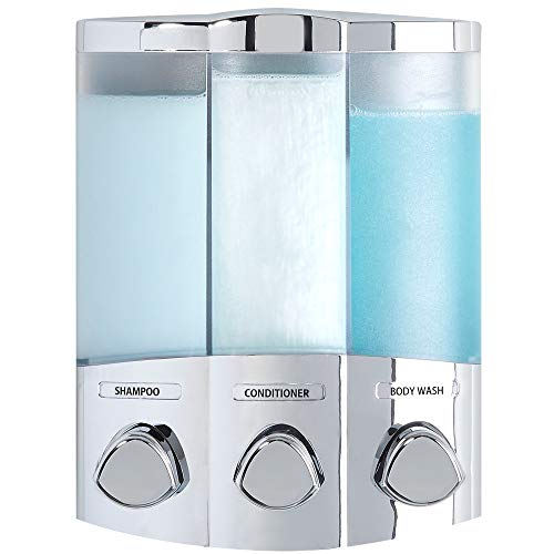 Aviva Euro Series Trio - Dispensador de jabón de Tres Compartimentos, Cromado, plástico, Cromado, 3-Chamber