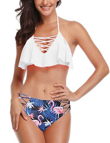 Abollria Bikini Set Damen Badeanzug Push up Bademode Halter Strandmode Bikinioberteil und Triangel Bikinihose Rüschen Hals Hängen Zweiteilige Strandkleidung