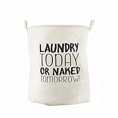 CAM2 15.74x15.74x19.68 Inches 65L Waterproof Laundry Baskets Foldable English Letters Linen Fabric Laundry Fabric Household Organizer Basket (Today)