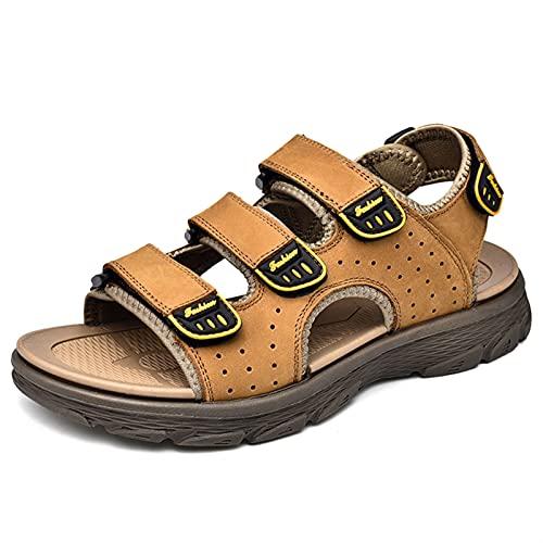 ZH~K Sandalias Perforadas Transpirables para Hombres Zapatos de Agua de Punta al Aire Libre Ocasionales al Aire Libre con Gancho Triple y buclestrap de Cuero Genuino Plana Color sólido 38-44