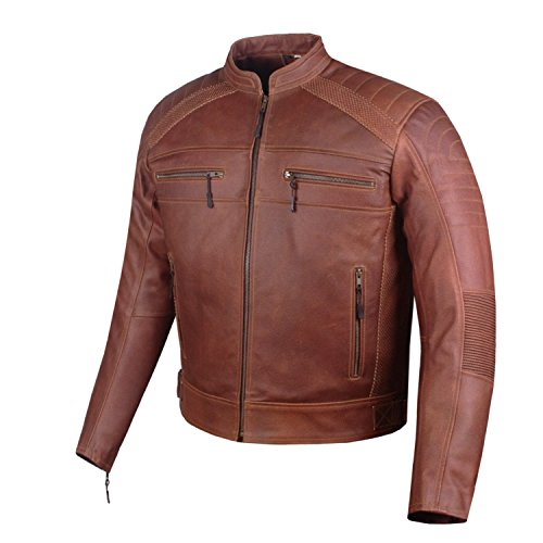 Men Heavy-Duty Distress Brown Leather Motorcycle Cafe Racer CE Armor Jacket L