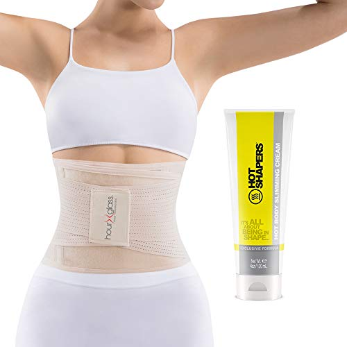 Waist Trainer Corset with Sweat Cream – Women's Slim Abs Waist Trimmer with Slimming Body and Skin Gel (Beige, S/M)