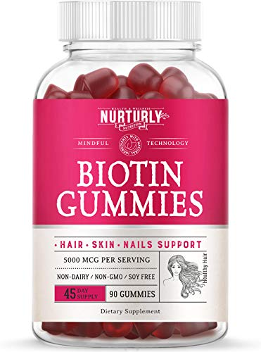 Biotin Gummies for Hair Growth, Strong Nails and Healthy Skin – Made with Coconut Oil and Pectin Based - High Potency Biotin 5000mcg Hair Skin and Nails Gummies – 90 Gummies