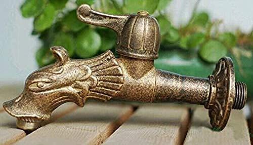 BACKZY MXJP Wasserhahn Wasserhahn Drache Tierförmige Gartenarmatur Rustikale Antike Bronze Wasserhahn Dekorative Garten Outdoor Wasserhahn