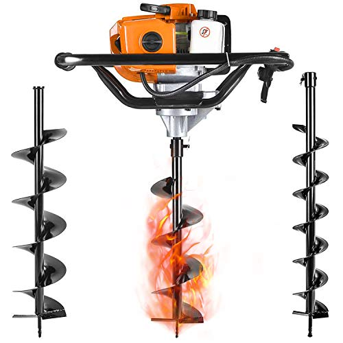 SALEM MASTER Gas Powered Post Hole Digger Earth Auger Drill 52CC 2 Stroke with 3 Auger Bits + Extension Bar for Fence and Planting