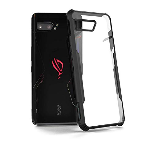 MME Case for ASUS ROG Phone 2 Armour Case TPU Frame with Built in Dust Cover Clear PC Back Air Trigger Compatible (Case Only)